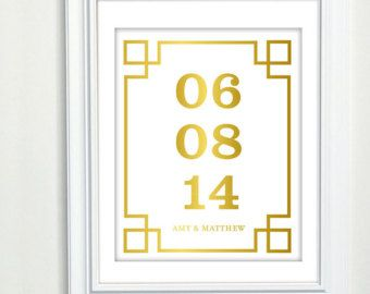 Great gift idea for a wedding, baby's birth, etc. - Special Date Art, Important Date Art, Faux Gold Foil Art, Gold Foil Print, Custom Wedding Gift