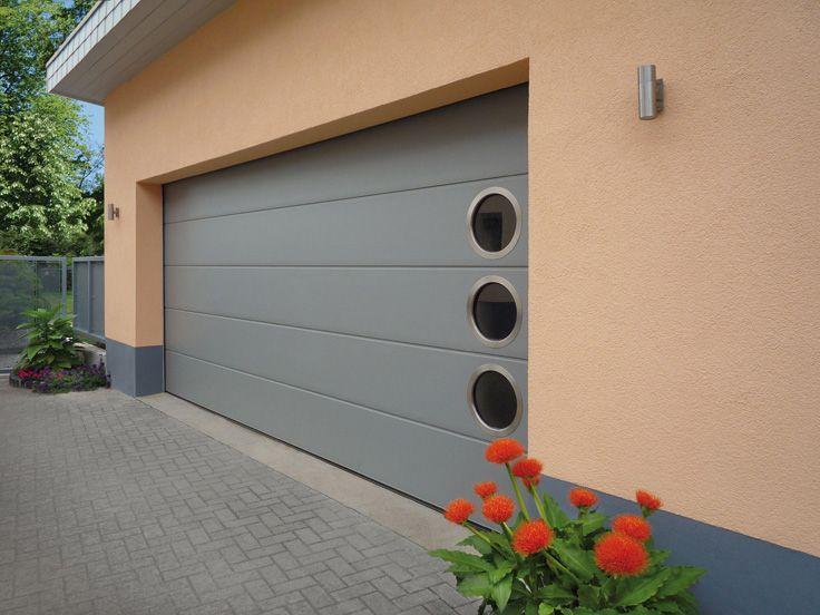 Garagentor modern  CarTeck GSW40-L in Lichtgrau (RAL 7035), ohne Sicke und ...