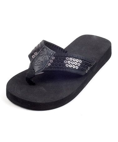 Take a look at this Black & Midnight Sequin KBop 70 Flip-Flop - Kids by beeBops on #zulily today!