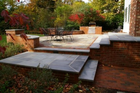 Bluestone Patio With Brick Piers Brick Patios Bluestone