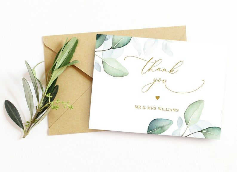 Green leaves gold thank you card printable thank you