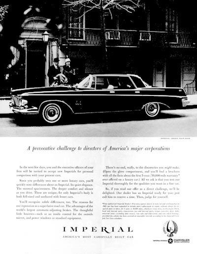 1963 Chrysler Imperial Crown Sedan original vintage advertisement.  America s most carefully built car. 51e5b5502