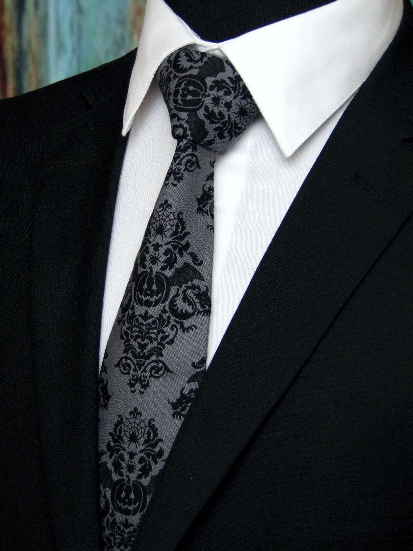 105b9bb9983c Halloween Necktie, Halloween Tie, Mens Necktie, Mens Tie, Pumpkin Tie,  Black Necktie, Gray, Grey, Goth, Gothic, Skull, Spider Web, Father by  EdsNeckties on ...