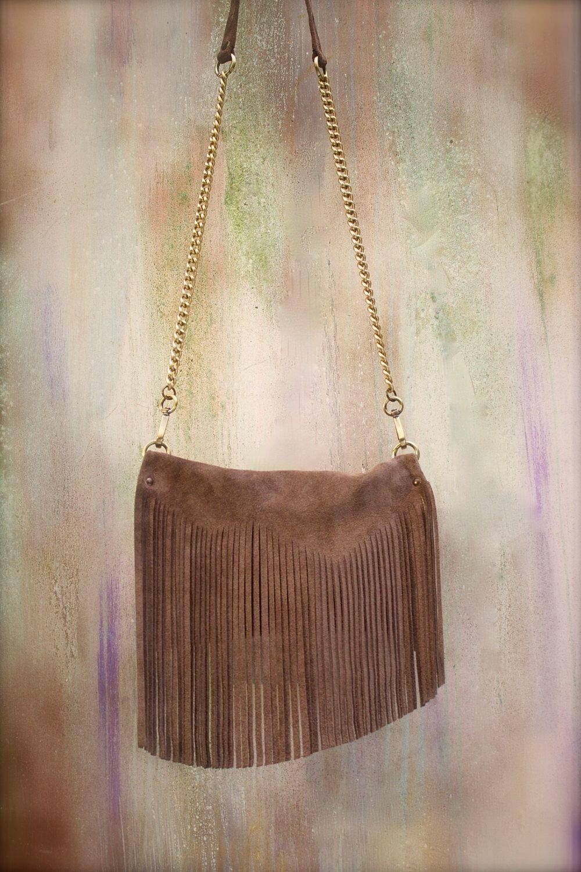 fringed crossbody bag, camel suede leather bag, fringed clutch by AgnesDeJuliisShop on Etsy https://www.etsy.com/listing/218505824/fringed-crossbody-bag-camel-suede