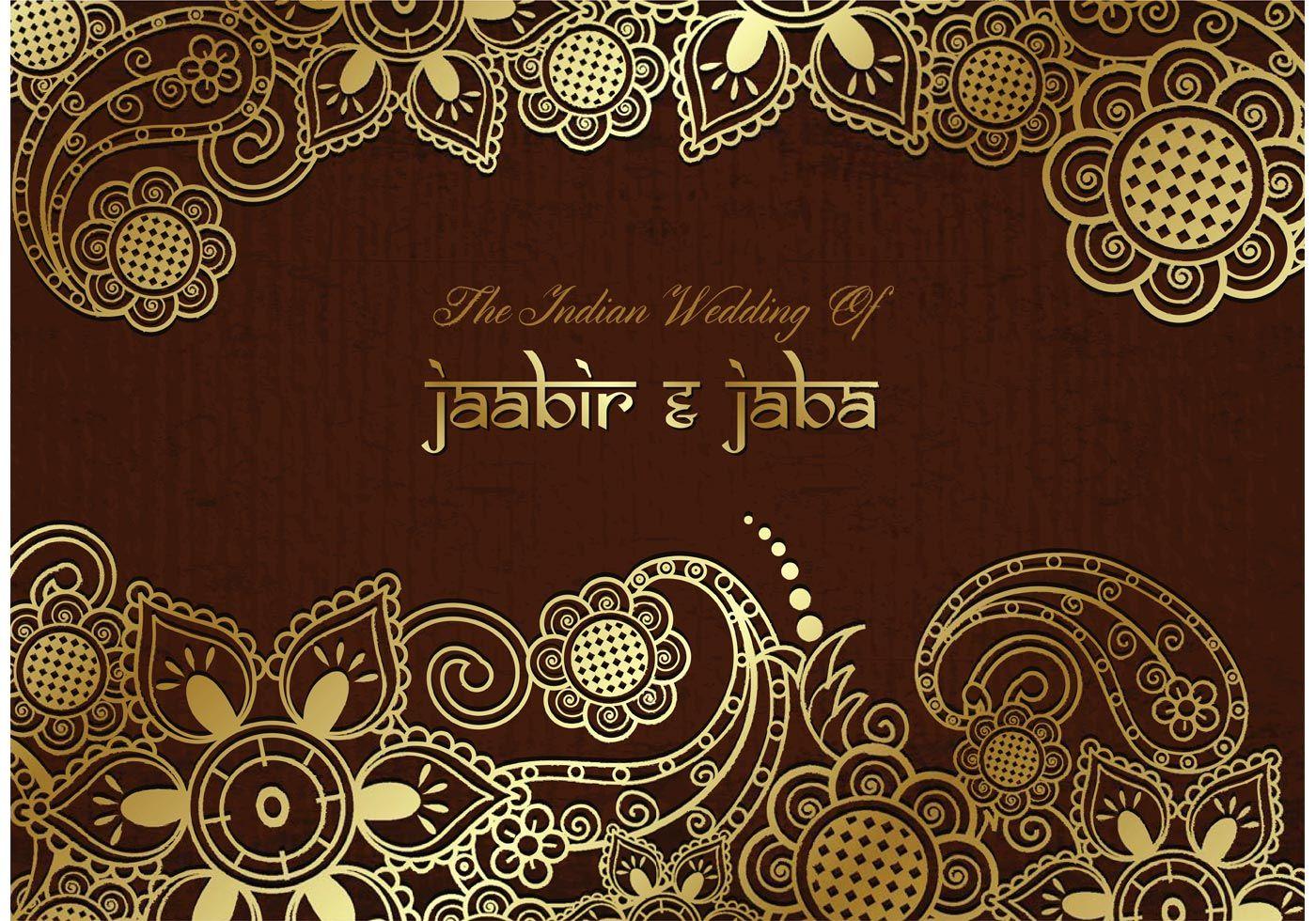 Free Vector Golden Indian Wedding Card | Clip art | Pinterest ...