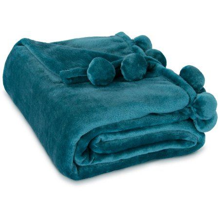 Electric Throw Blanket Walmart Interesting Mainstays Deluxe Plush Pom Pom Trim Throw Blanket  Walmart And Products Design Inspiration
