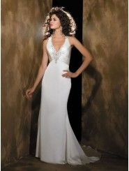 Column Organdy Delicately Gathered Bodice Deep V-Neckline Sweep Train Wedding Dresses (840)