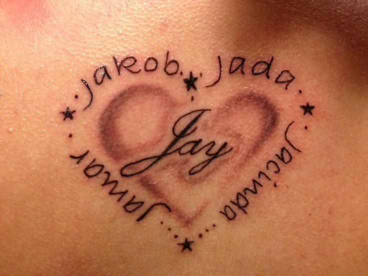 Modele Tatouage 5 Prenoms Avec Coeur Et Etoiles Images Tattoos