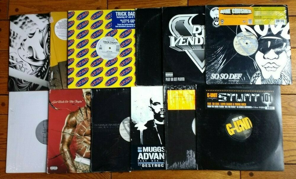 Lot Of 12 Vinyl Records 50 Cent G Unit Trick Daddy Venitian Snares