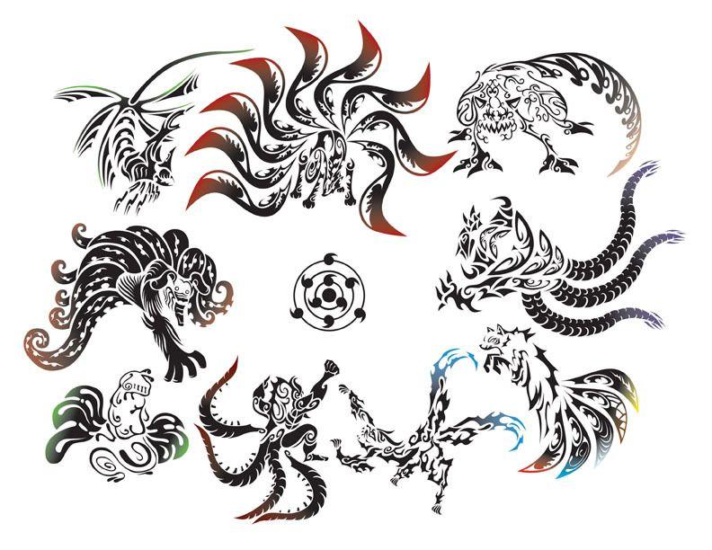 The Nine Bijuu In Tattoo Design From Naruto Anime Tatouage Naruto Tatouages D Anime Dessin De Dragon