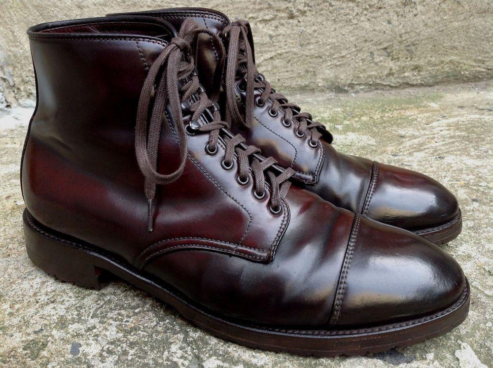 Alden Men's Shell Cordovan Cap Toe Boots Commando Sole Grant Last Size 9.5