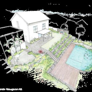 Aufsicht Holzdeck Mit Schwimmteich Gartengestaltung Gardendesign Schwimmteich Garten Design Garten Planen