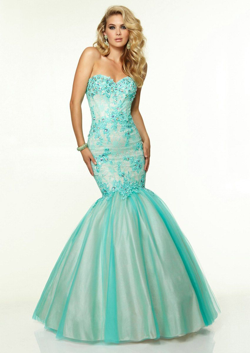 Wishesbridal Sexy Green Sweetheart Floor Length Tulle Trumpet ...