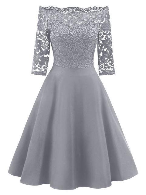 6f11cc62cc Lace Panel Off Shoulder Vintage Midi Dress in 2019