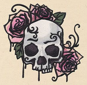 Painted Skull and Roses design (UT6369) from UrbanThreads.com