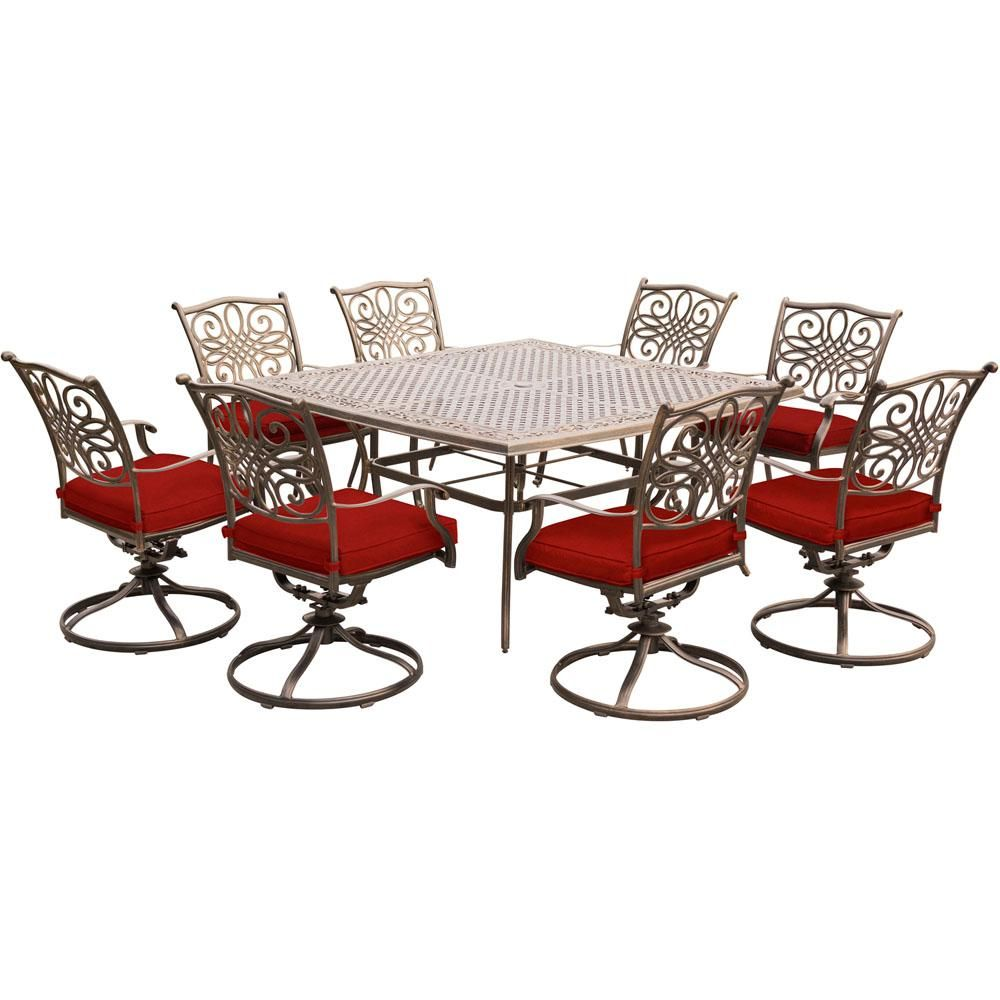 Hanover Traditions 9 Piece Aluminum Outdoor Dining Set With Swivel