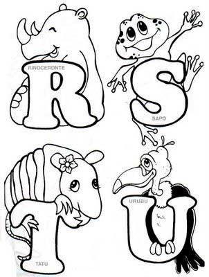 Alfabeto Animais Colorir Enfeite Sala De Aula 4 Com Imagens