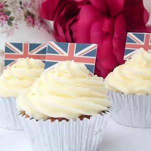 Edible Union Jack Cupcake Toppers