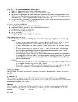 Private Tutoring Contract Template  Brain