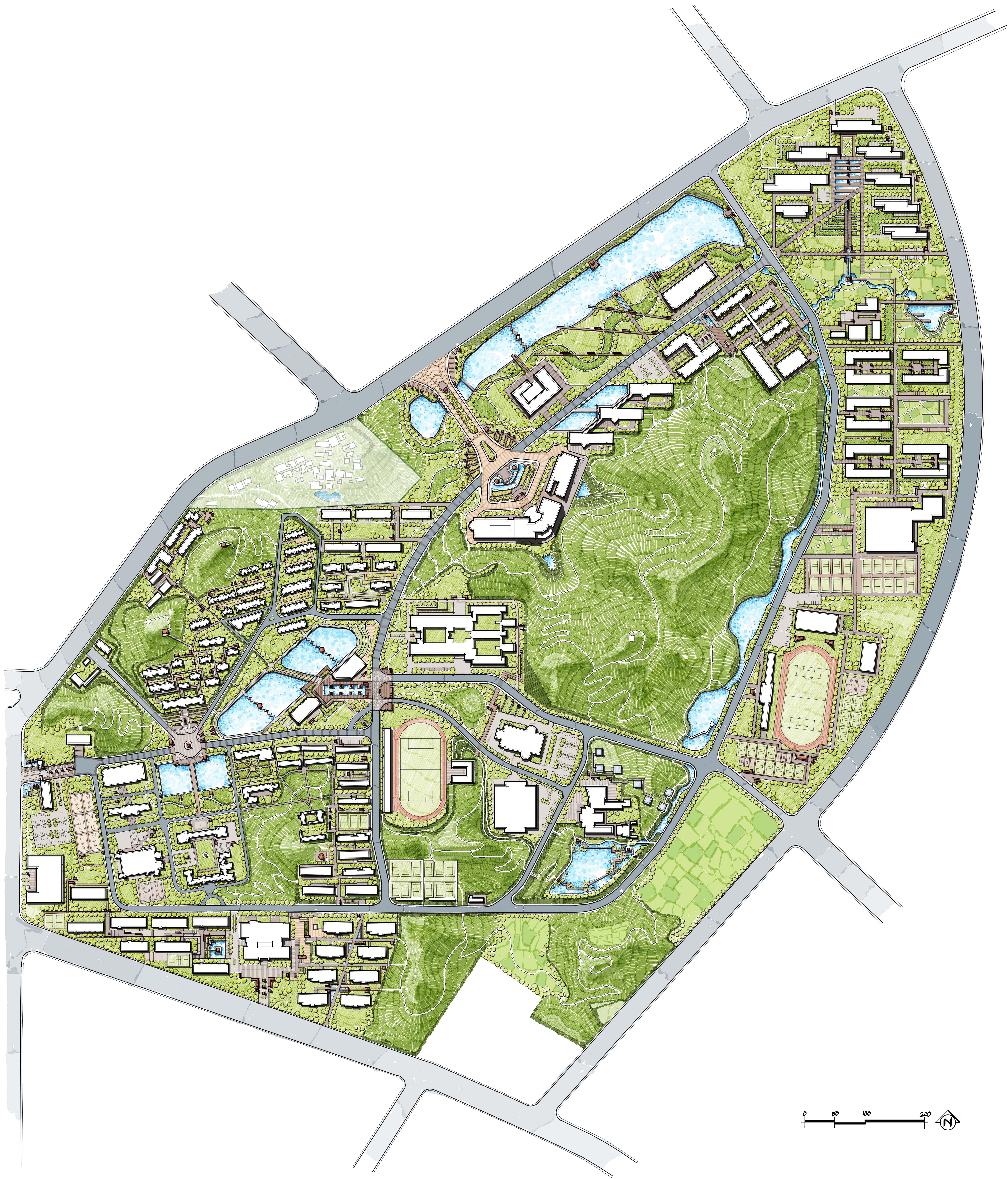 University Landscape Master Plan School Master Plan Green Reserve Freehand Landscape Master Plan China School Master Plan Plan Sketch Concept Architecture