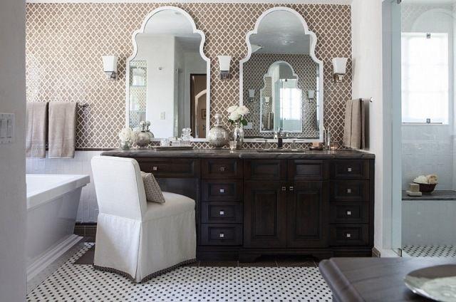 Mediterranes Badezimmer ~ Badezimmer wandgestaltung mit marokkanisch gemusterten fliesen