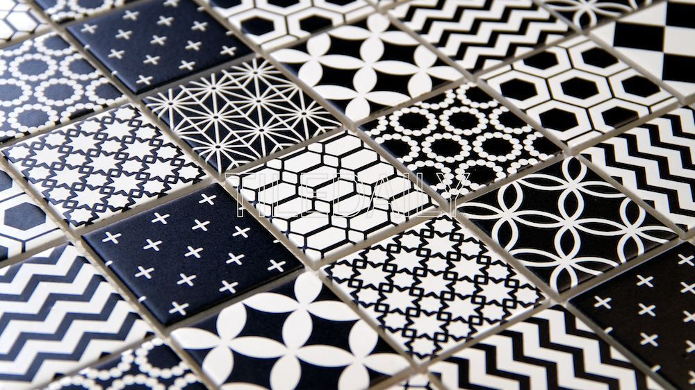 2x2 black and white glass mosaic tile