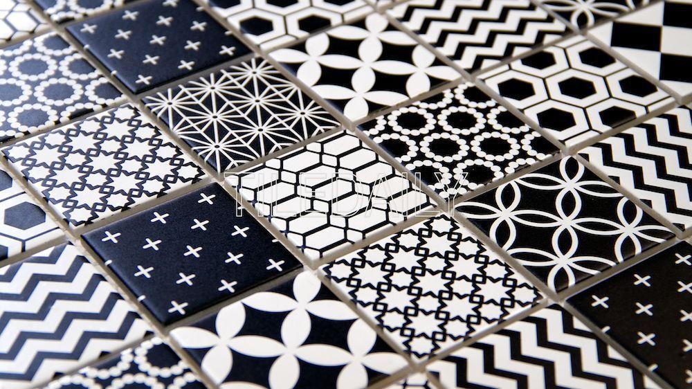 2x2 Black And White Glass Mosaic Tile Geometric Pattern Perfect