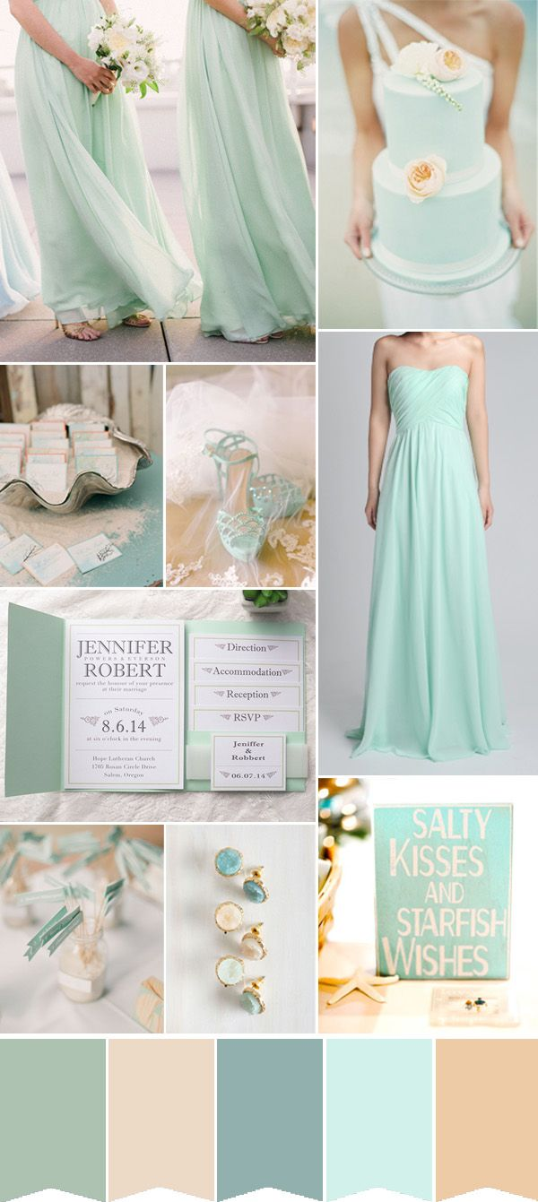 Fabulous summer beach wedding colors with matched for Green beach wedding dresses
