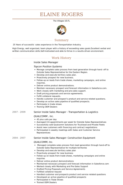 inside sales on a resume vision professional - Inside Sales Resume Example