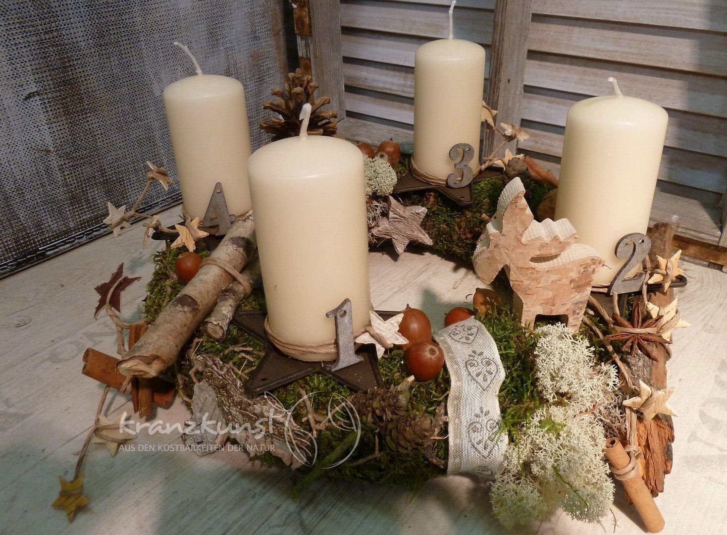 Naturkranz Birkenelch Adventskranz 4lichter Schweden Country Landhaus Adventskranz Weihnachtsdeko Weihnachten Weihnachtszeit