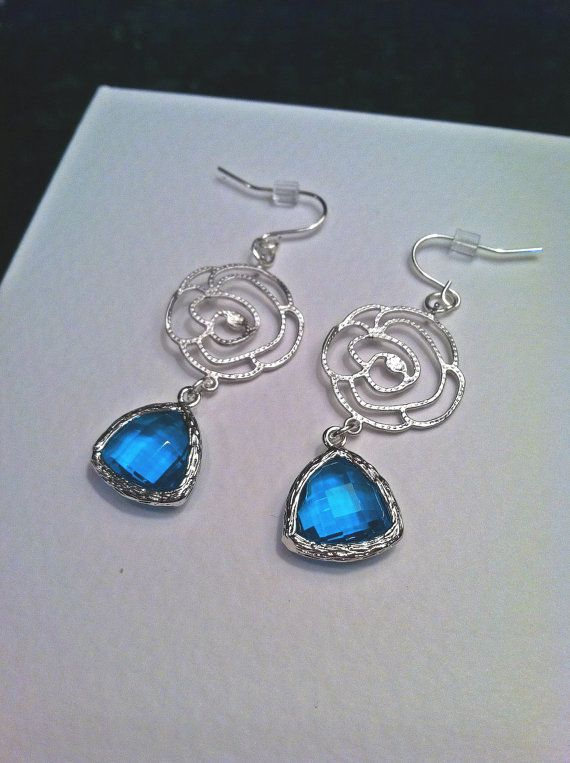 Matte Silver Rose Earrings with Teal Glass Stone by PacificAndKey, $23.00