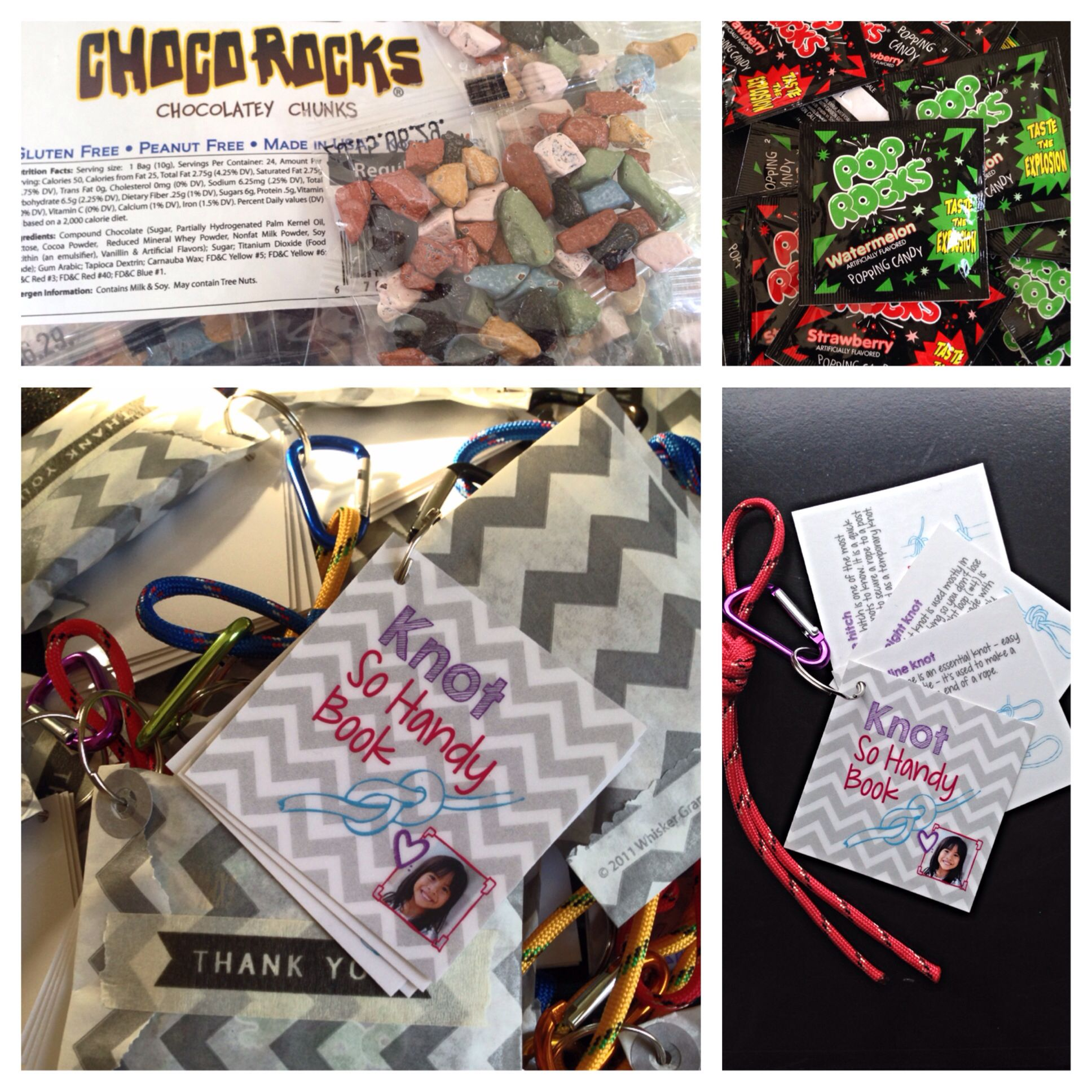 favors for rock climbing party. custom knot guide, rope for ...