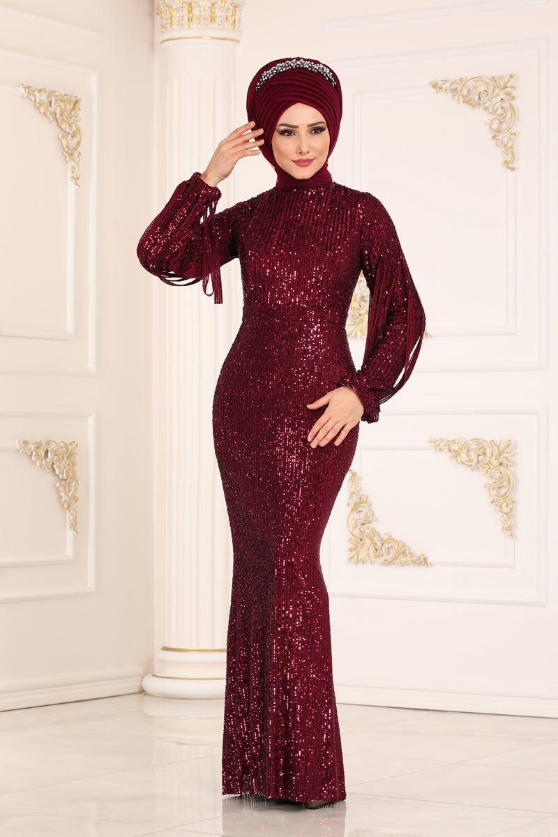 Modaselvim Abiye Pul Payetli Balik Abiye Ech7285 Bordo Moda Kiyafetler Resmi Elbise Elbiseler