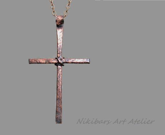 Mens cross necklace copper mens cross necklaceabstract mens cross forged copper cross necklace copper cross by nikibarsnatureart aloadofball Images