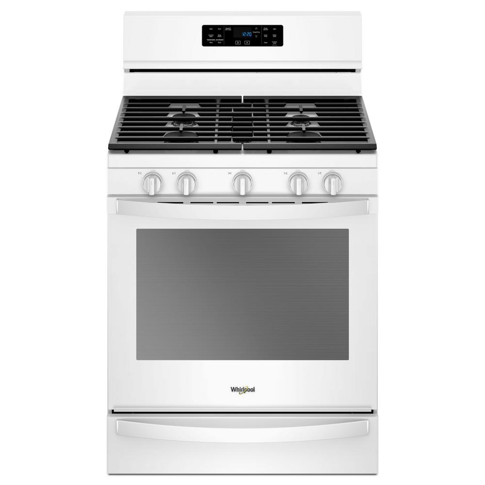 Whirlpool 5 8 Cu Ft Gas Freestanding Range In White With Frozen Bake Technology Wfg775h0hw The Home Depot Self Cleaning Ovens Gas Range Convection Oven