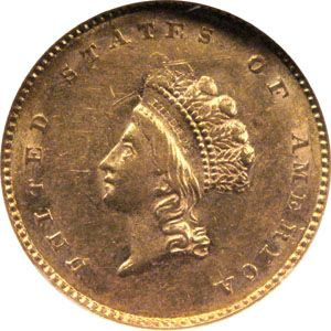 1855 one dollar gold