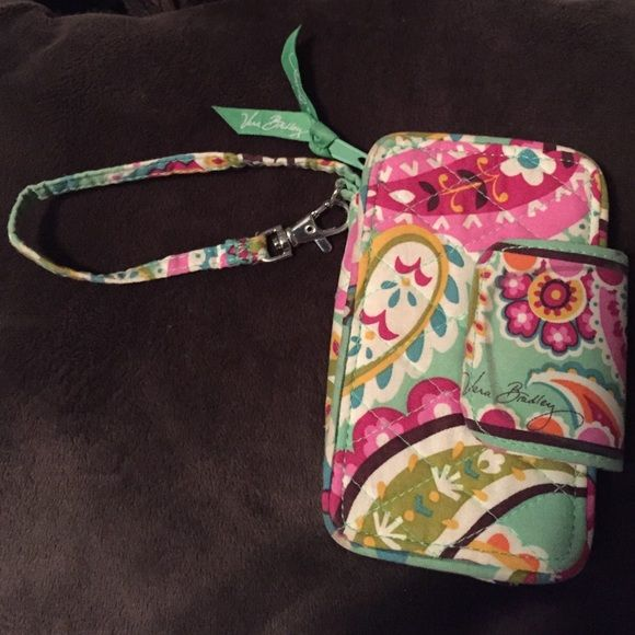 Vera Bradley wristlet! Super cute and great for summer. Green with multicolor printed paisley. Fits all iPhones expect 6 plus. 6 fits but not as well as 5-5s does! Vera Bradley Bags Clutches & Wristlets