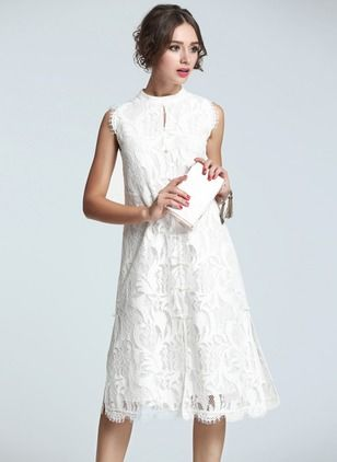 f6cd5a9ec65 White Lace Summer Dress As Picture Lace Solid Sleeveless Knee-Length Dresses
