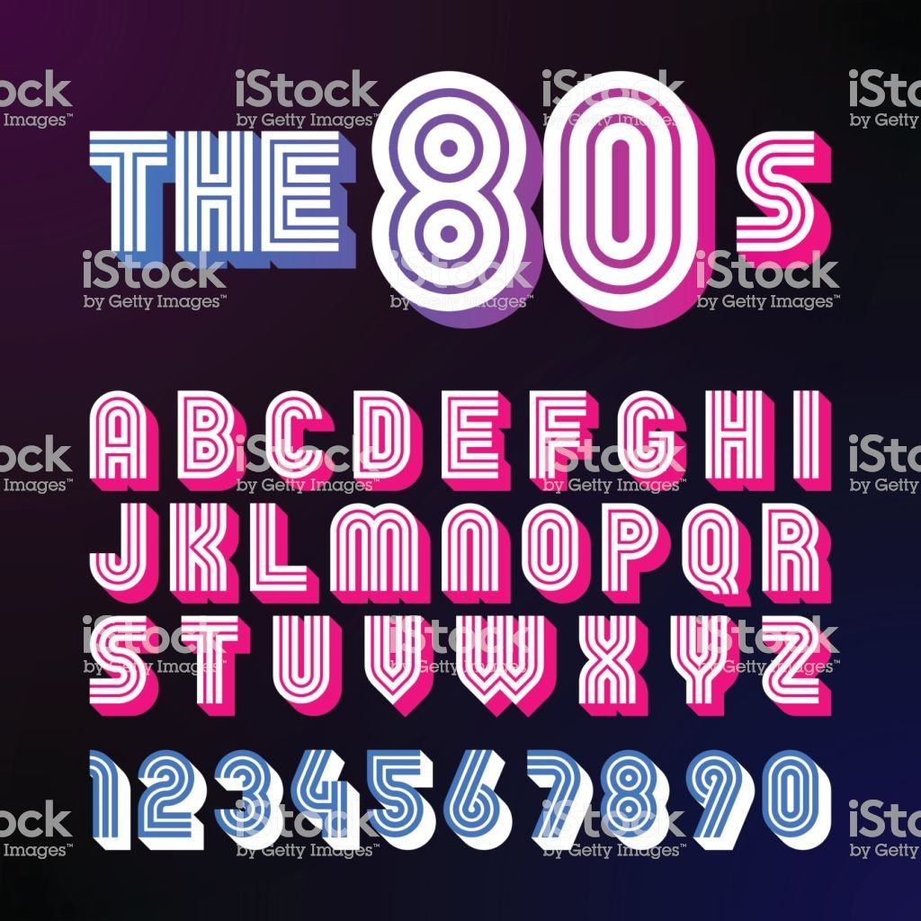 Eighties Style Retro Font 80 S Font Design With Shadow Disco Style Retro Font Aesthetic Fonts Typography Alphabet