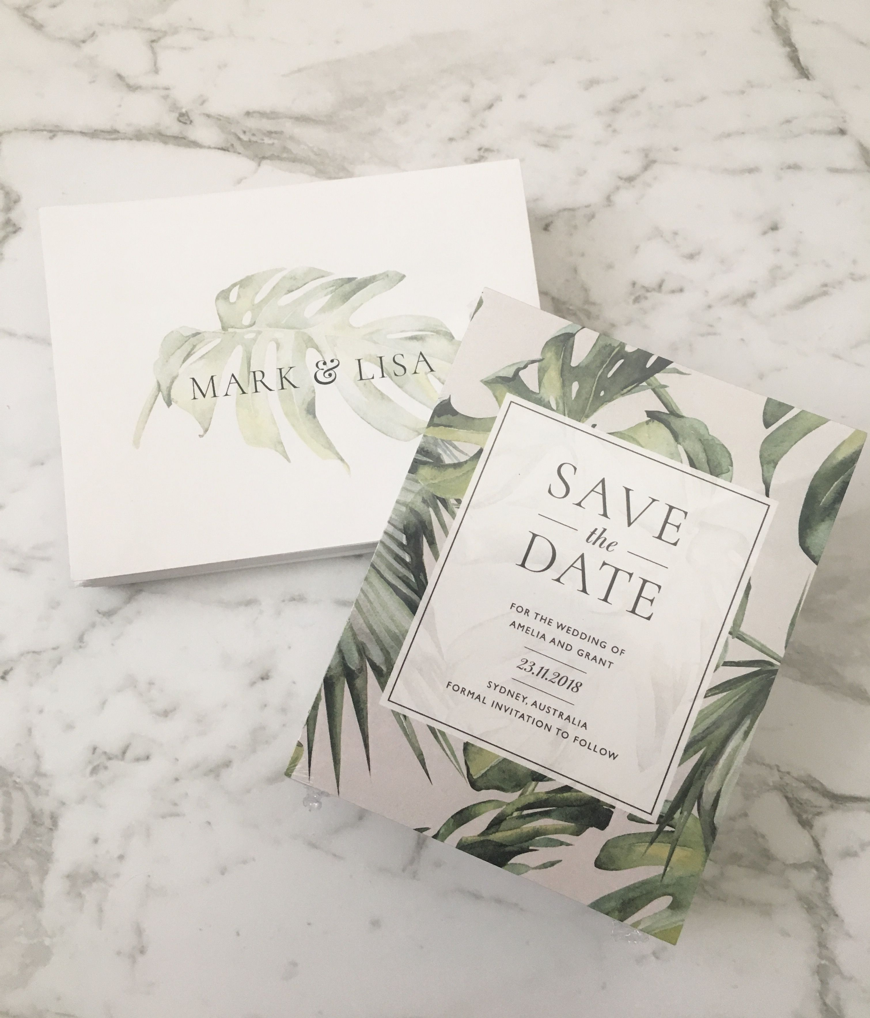 Save the Date | Printed Save the Date | Tropical Invitation | Palm ...