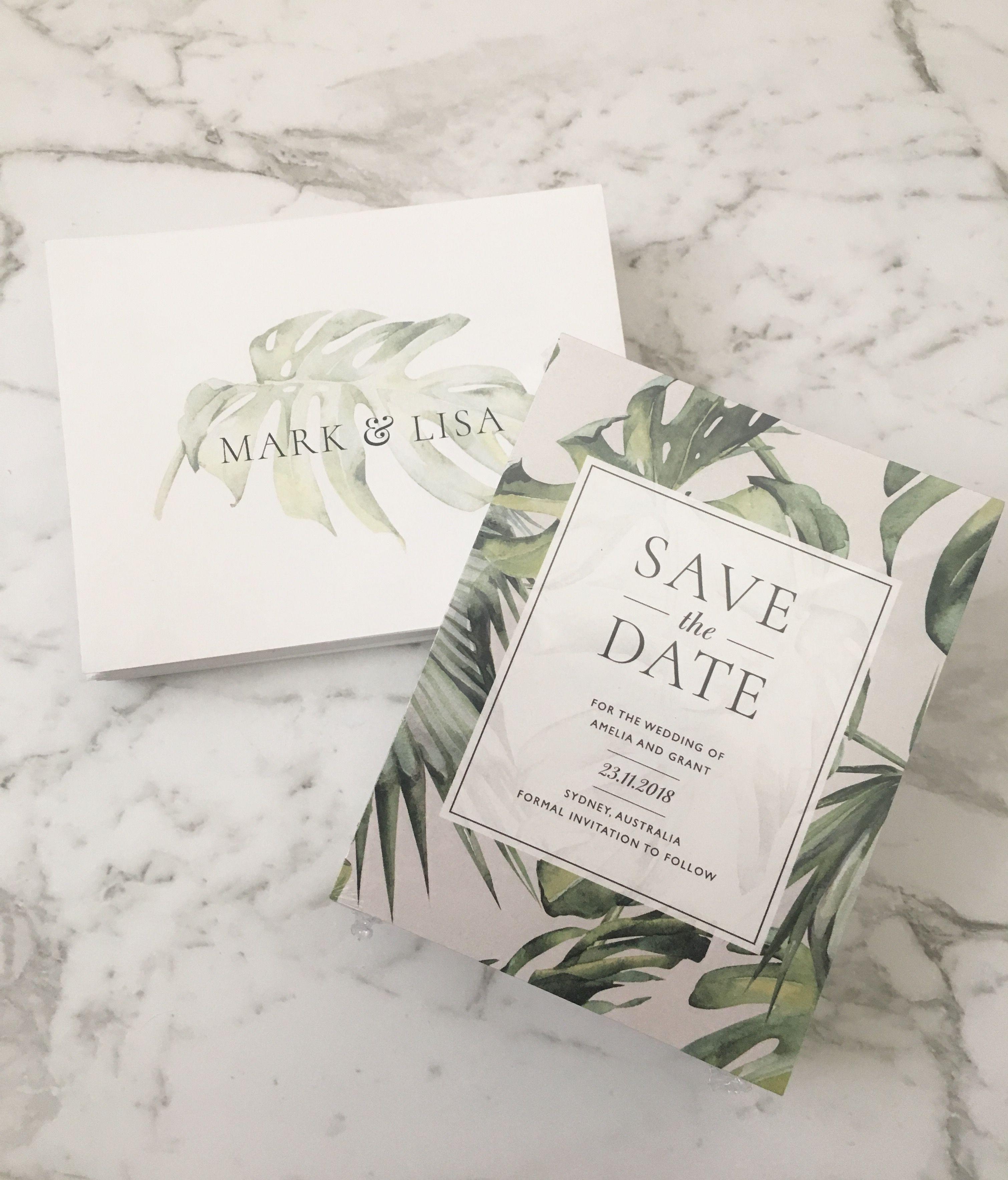 Tropical Leaf Invitation | Tropical Save the Date | Monstera Leaf ...