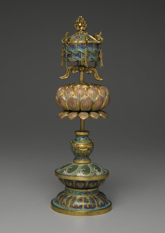 Buddhist Ritual Object in Form of a Canopy on Lotus Base - Medium: Cloisonne enamel on copper alloy. Place Made: China. Dates: 1736-1795. Dynasty: Qing Dynasty. Period: Qianlong Era.