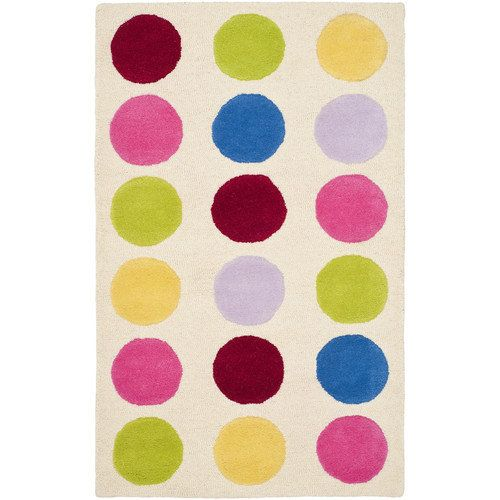 The Bright Fun Colors On This Handmade Childrens Polka Dot Rug Are Stunning Rugs Ivory Background Constructed From New Zealand Wool Dense