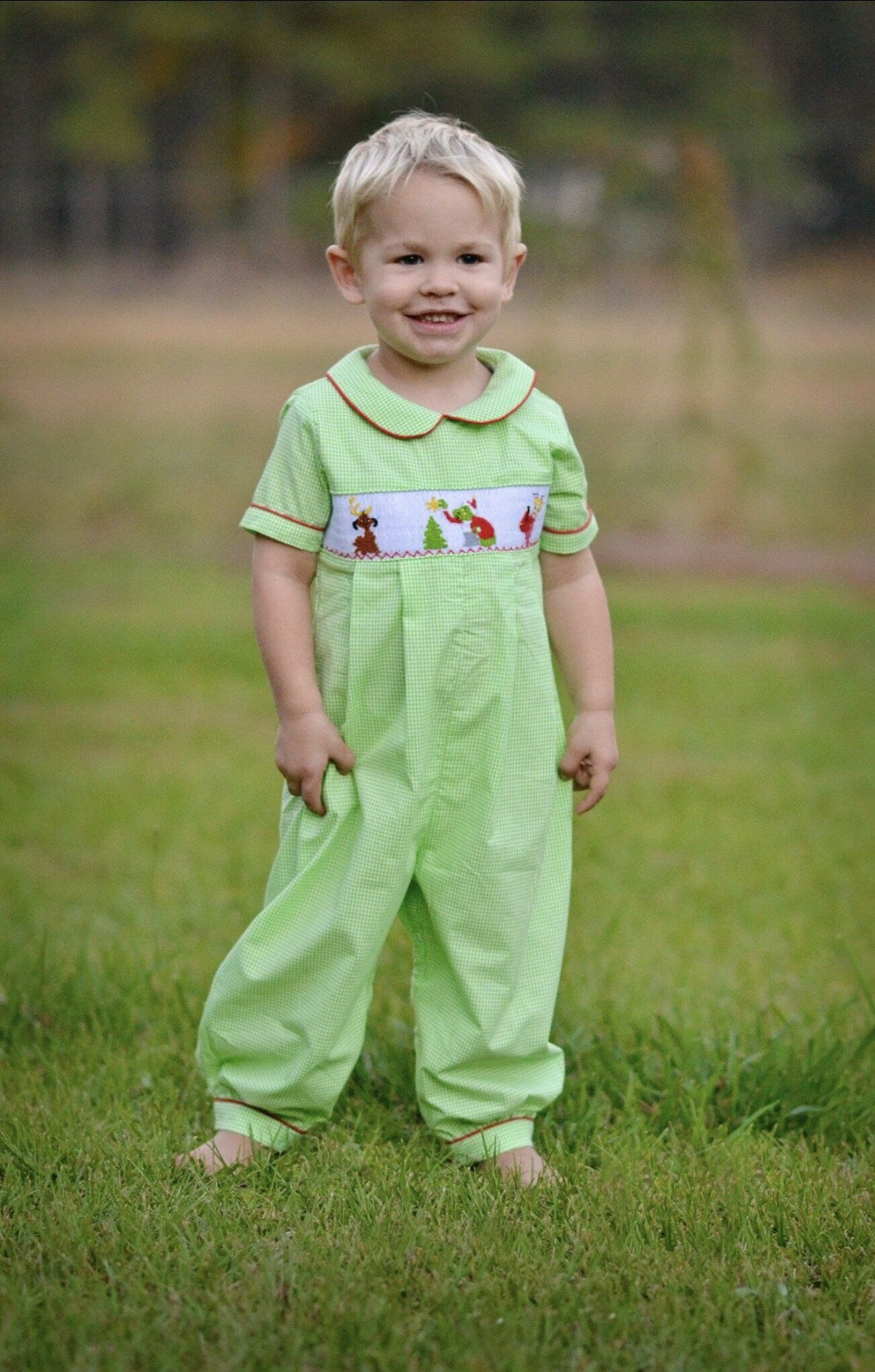Lime Gingham Smocked Grinch Long Boys Bubble Future Baby