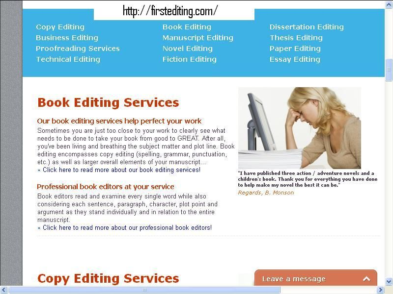 Consulting, developmental editing and Book editing services for writers
