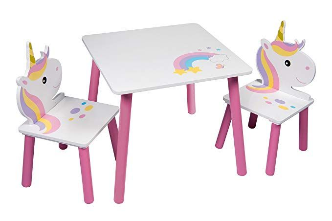 Unicorn Table And 2 Chairs Set Childrens Kids Toddler