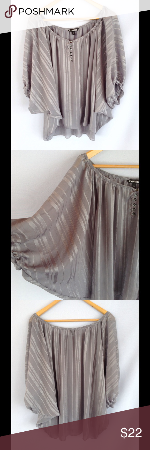 Express Silver Flowy Top Gorgeous silver flowy top. Excellent condition. Express Tops