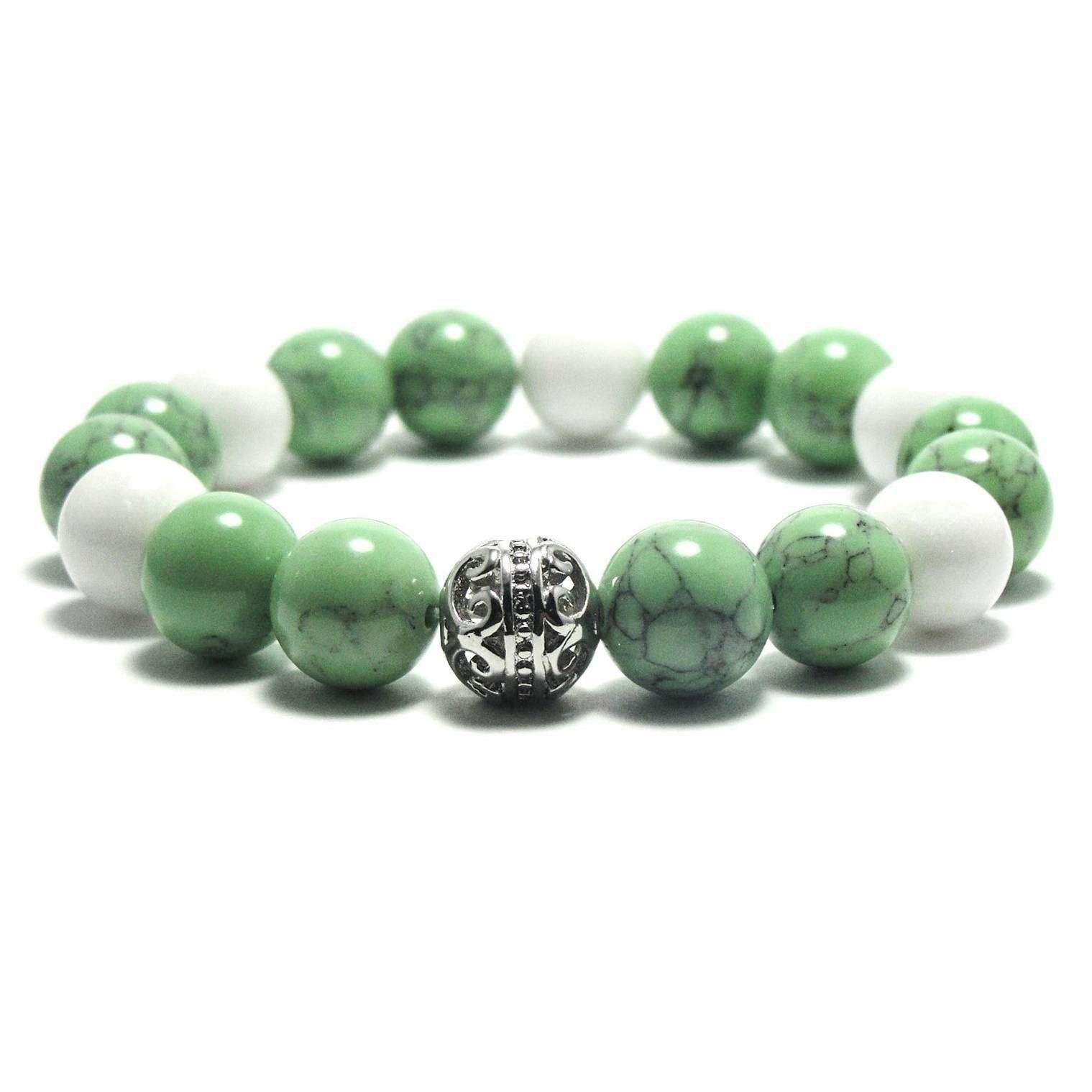 Unique Green and Black Textured Natural beads Stretch Bracelet For Serenity