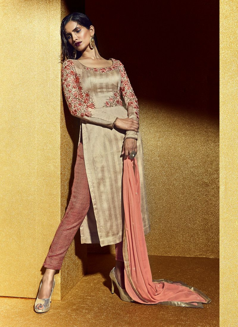 a8dd359b319 You will be sure to make a impressive style statement with this French  Beige Bhagalpuri Silk Unstitched Salwar Kameez. The lovely Resham   Lace  work a ...