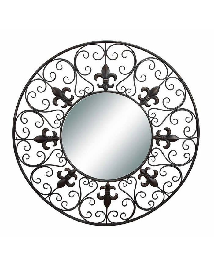 Round Wall Mirror With Fleur De Lis Metal Artwork French Living